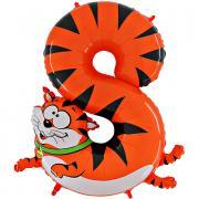 Folienballon Riesenzahl Tier #8 Katze 100cm