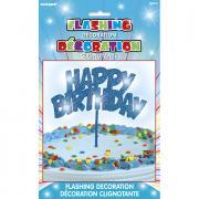 LED-Tortendeko Happy Birthday in Blau