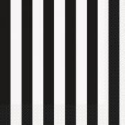 16 Servietten Stripes schwarz/weiss 33cm