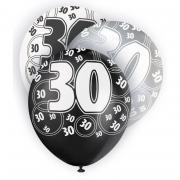 6 Latexballons Zahl 30 ø30cm schwarz