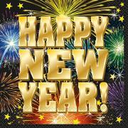 16 Servietten Happy New Year Fireworks 33cm