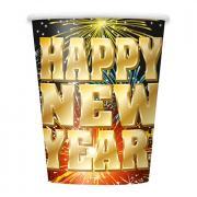 8 Pappbecher Happy New Year Fireworks 266ml