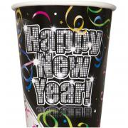 8 Pappbecher Countdown to New Year 266ml