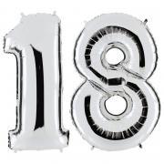 Set Folienballons Riesenzahlen 18 Silber 101cm