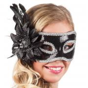 Maske Augenmaske Black Flower Venezianisch