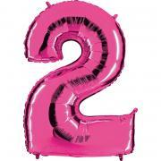 Folienballon Riesenzahl Pink #2 100cm
