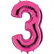 Folienballon Riesenzahl Pink #3 100cm