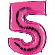 Folienballon Riesenzahl Pink #5 100cm