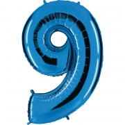 Folienballon Riesenzahl Blau #9 100cm