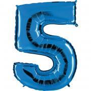 Folienballon Riesenzahl Blau #5 100cm