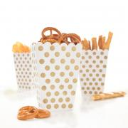 8 Snackboxen Dots Punkte in Gold