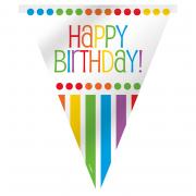 Wimpelkette Happy Birthday Rainbow Party 365cm