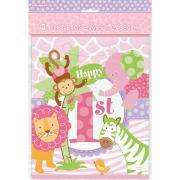 Geschenktüten 1.Geburtstag Safari pink 8 Stück