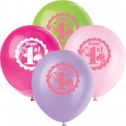 8 Latexballons 1.Geburtstag Safari Pink