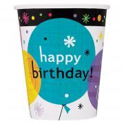 Pappbecher Breezy Birthday Balloons 266ml 8 Stück