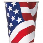 Pappbecher USA American Flag 266ml 8 Stück