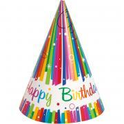 Partyhüte Rainbow Ribbon Birthday 8 Stück