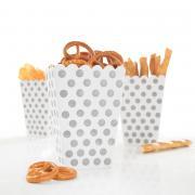 8 Snackboxen Dots Punkte in Silber