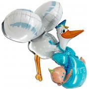 Folienballon 3D Baby Boy Storch 157cm