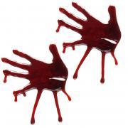2 blutige 3D-Handabdrücke aus Jelly