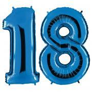 Set Folienballons Riesenzahlen 18 Blau 101cm