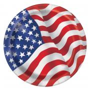 Pappteller USA Flagge 18cm 8 Stück