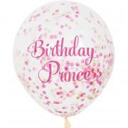 6 Latexballons Birthday Princess m. Konfetti ø30cm