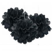 3 Pompoms Fluffy in Schwarz ø23cm