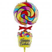 Folienballon Happy Birthday Lollipop 101cm