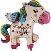 Folienballon Happy Birthday Rainbow Pony 114cm
