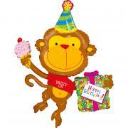 Folienballon Happy Birthday Äffchen 124cm