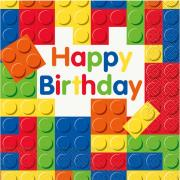 16 Servietten Happy Birthday Blocks 33cm