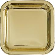 Pappteller Square Gold Glänzend 23cm 8 Stück