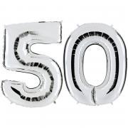 Ballon Riesenzahl-Set 50 Silber