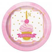 Pappteller 1st Birthday Pink & Gold 18cm 8 Stück