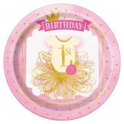 Pappteller 1st Birthday Pink & Gold 23cm 8 Stück