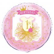 Folienballon 1st Birthday Pink&Gold 45cm