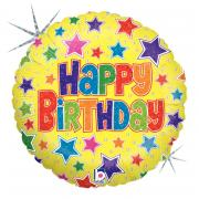 Folienballon Happy Birthday Stars 45cmØ