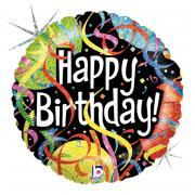Folienballon Happy Birthday Luftschlangen 45cmØ