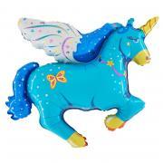 Folienballon Pegasus mit Flügel Blau
