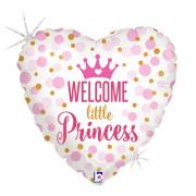 Folienballon Welcome little Princess Herz Holo