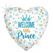 Folienballon Welcome little Prince Herz holo