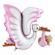 Folienballon Klapperstorch Rosa