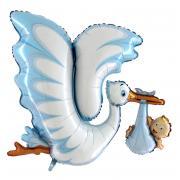 Folienballon Klapperstorch mit Baby in Blau XL