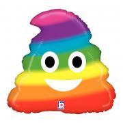 Folienballon Emoji Pooh Regenbogen 45cmØ