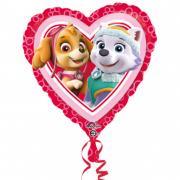Folienballon Paw Patrol Love Girl Herz Pink 43cmØ