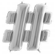 Folienballon Riesenbuchstabe # Silber 100 cm
