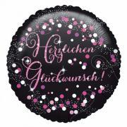 Folienballon Glückwunsch Sparkling Pink 45cmØ