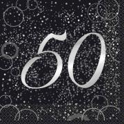 Servietten Geburtstag Glitzer Silber #50 33x33 cm