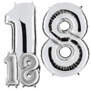 Ballonzahl Set 18 Silber 101cm und 36cm höhe